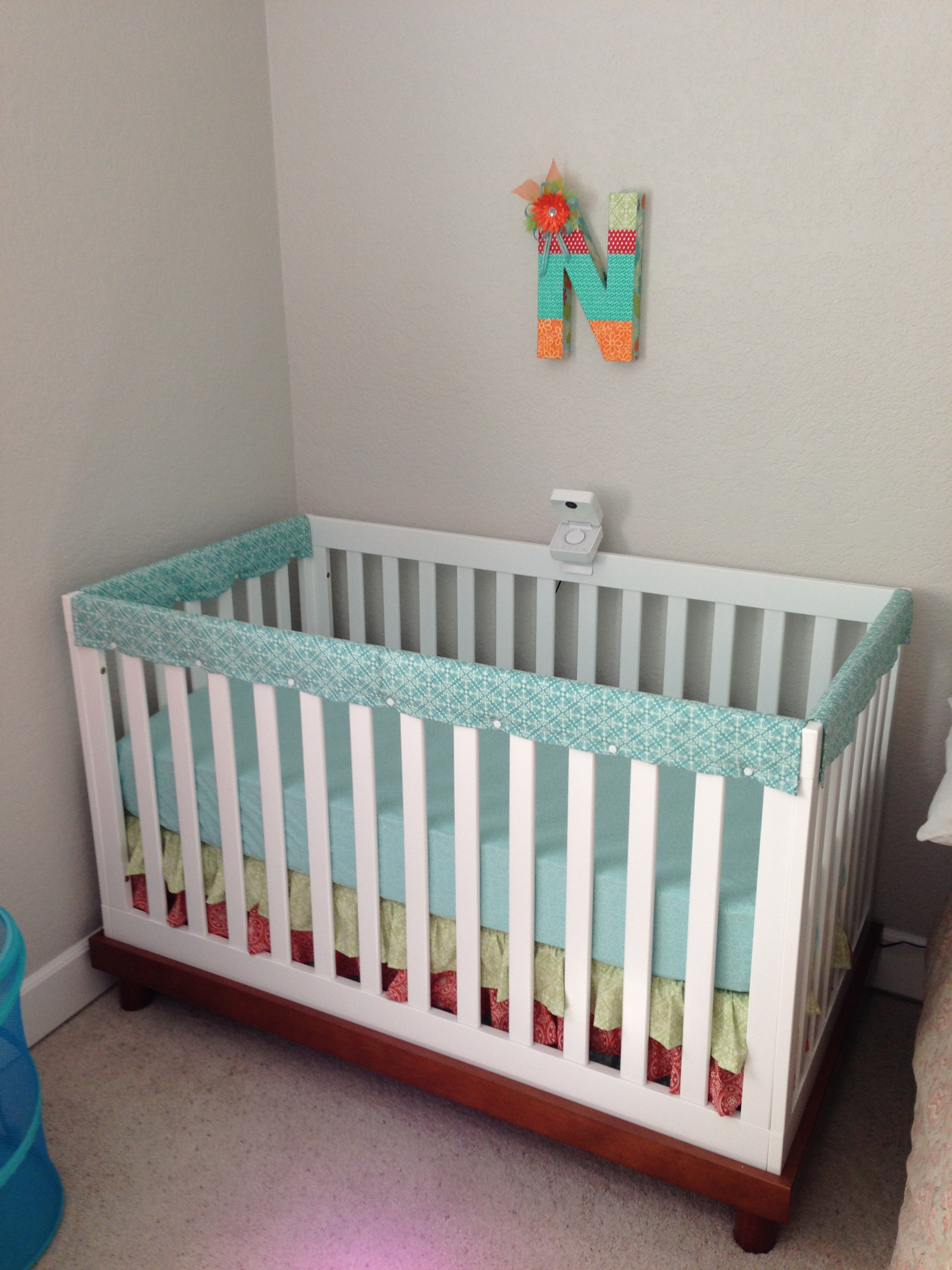 Crib rail cover diy crafts for Baby cot decoration images
