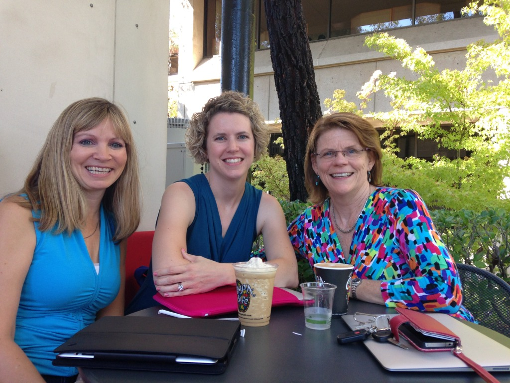 Tammy Harris, Julie Webb, and Linda Bauld, all NBCTs having a meeting of the minds at NBRC Stanford University